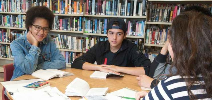 Group of high school students in school library setting