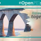 "Graphic with image of Confederation Bridge and text ""Renew PEI Together, Open Safely"""