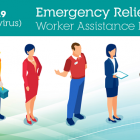 "Image that shows different people and it says ""Emergency Relief Worker Assistance Program - COVID-19"""
