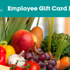 Image that shows vegetables and the text COVID-19 Employee Gift Card Program