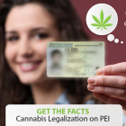 "Web graphic of somen holding PEI photo ID in foreground with copy that reads ""the legal age for cannabis use will be age 19 - Get the facts on cannabis legalization on PEI"""