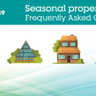 """COVID-19 graphic with text: """"Seasonal properties frequently asked questions"""""""