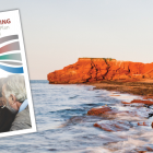 Thumbnail image of Poverty Reduction Action Plan for PEI cover in foreground with image of red cliffs of PEI coastline in background