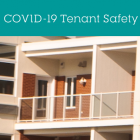 "Image that shows the outside of an apartment building with the text ""COVID-19 Tenant Safety Facts"""