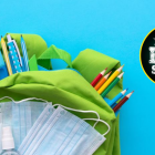"Image of school backpack filled with school supplies including hand sanitizer and masks with graphic that reads ""Welcome Back to School"""