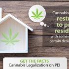 """Graphic image of house with cannabis leaf that reads """"Cannabis use will be restricted to private residences, with some exceptions for certain designated spaces"""""""