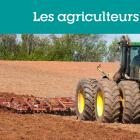 """Graphic box with text : """"Les agriculteurs :FAQ"""""""
