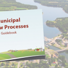 Aerial image of Montague with thumbnail of Municipal Sample Bylaws document in foreground