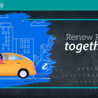 """Graphic image of people car pooling with text """"Renew PEI togther"""""""