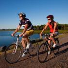 Couple biking on Confederation Trail
