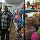 Doug and Linda Nobles stand in their shop at Belfast Mini Mills, and an accompanying photo shows colourful yarn made from a hand dyed blend of qiviut, alpaca, cashmere and silk