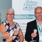 Corey Arsenault of Stretch Fitness with Transportation, Minister Paula Biggar and Mike Proud of efficiencyPEI.