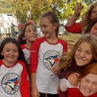 Ball players from the Girls at Bat program