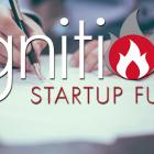 Ignition Fund logo and woman typing on a laptop