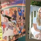 Lynn Anne Hogan is shown here in two photos, standing at a microphone, and sitting looking at the camera.