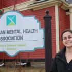 Tayte Willows stands outside the office of the Canadian Mental Health Association in Charlottetown