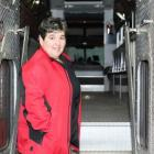 Nancy Gaudet stands in the doorway of a firetruck at the North River Fire Hall