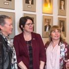 Nurses Cynthia Bryanton, Anita MacKenzie and Debbie Flood-Vickerson, as well as Director of Public Health Nursing and Child Development Jill Anne McDowall, speak with Minister Mitchell about nursing on PEI
