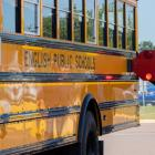 Two people standing beside a school bus