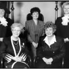 (From left) Speaker of the House Nancy Guptill, Lieutenant Governor Marion Reid, Leader of the Opposition Pat Mella, Premier Catherine Callbeck, Deputy Speaker Elizabeth (Libbe) Hubley. June 1993.
