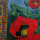 Oil painting on canvas titled  Poppies Grow