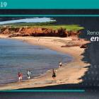 Graphic and image of PEI beach with text :  Renouveler l'Î.-P.-É.