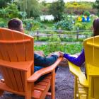 Image of couple sitting in an outdoor garden