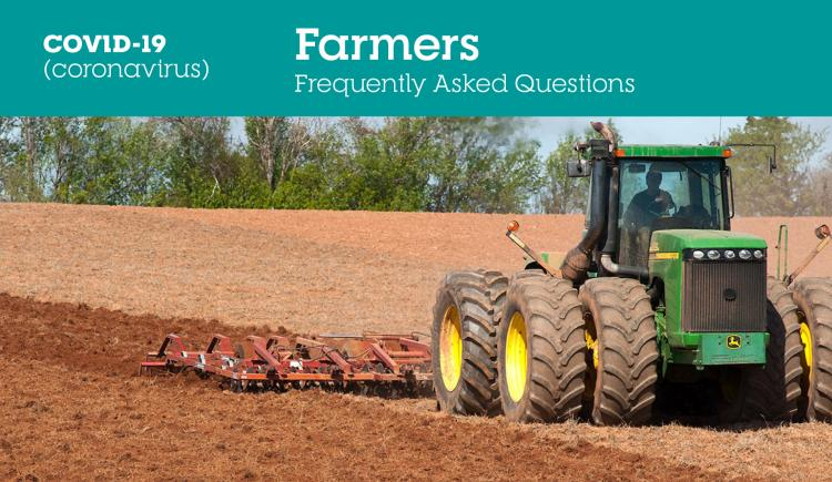 """Image of tractor ploughing field with text """"COVID-19 FAQs for Farmers"""""""