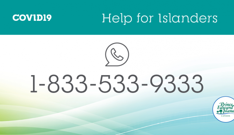 """COVID-19 graphic titled: """"Help for Islanders 1-833-533-9333'"""