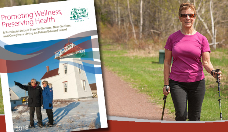 Female senior citizen walking on a trail flanked by grass and trees with the cover of the Promoting Wellness, Preserving Health action plan superimposed on the left hand side