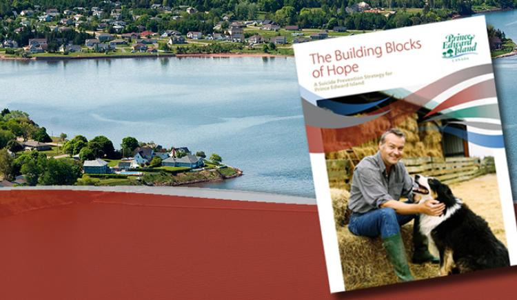 Thumbnail image of PEI Suicide Prevention Action Plan on top of aerial image of Charlottetown