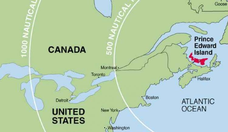 Line drawing of Canada / United States map showing location of PEI