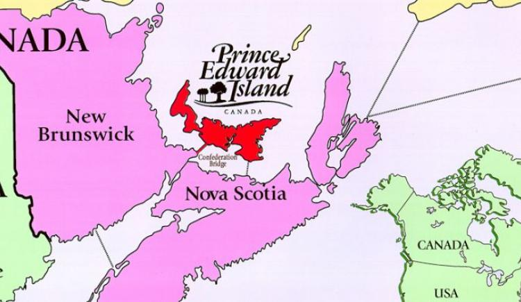 Line drawing of Atlantic Canada map showing location of PEI with map of Canada as insert in bottom right corner