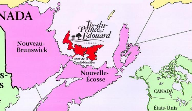Line drawn map of Atlantic Canada showing PEI location with map of Canada inserted in bottom right corner showing location of PEI