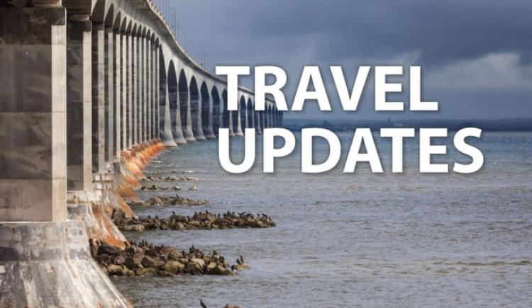 "Image of Confederation Bridge with text ""Travel Update"""