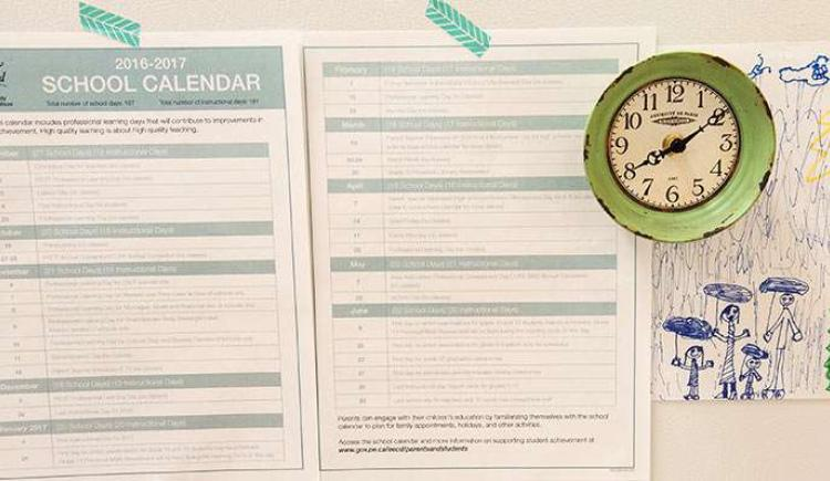 2016 PEI school calendar pinned to fridge