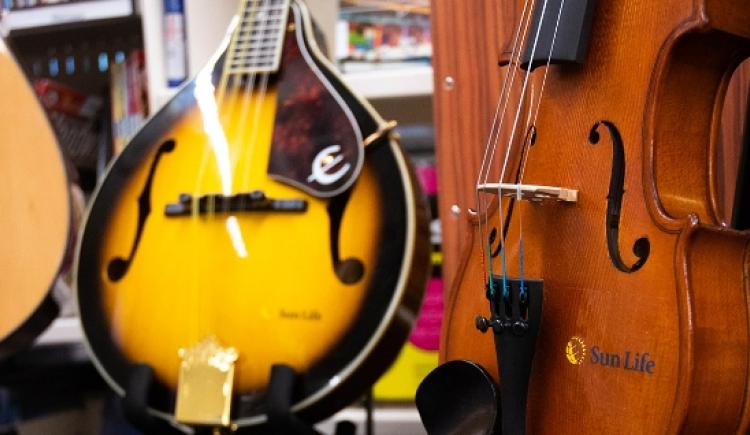 A collection of string instruments at a PEI library