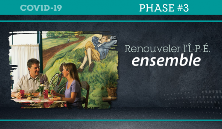 "Graphic of a couple dining indoors at a restaurant with text : ""Renouveler l'Î.-P.-É. ensemble"""
