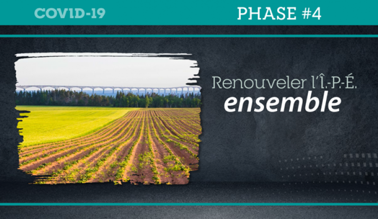 "Graphic image of field with Confederation Bridge in background with texte : ""Renouveler l'Î.-P.-É. ensemble"""