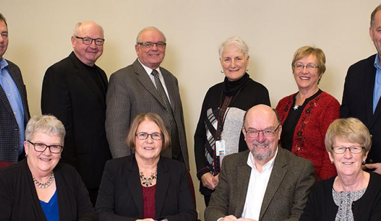 Back Row (L-R): John Horrelt, Blaine MacPherson, Dr. George Saunders, Dr. Dagny Dryer, Kay Lewis, Jim Revell. Front Row (L-R): Sally Lockhart, Phyllis Horne (chair), Alex MacBeath (vice-chair), Sandra Gaudet Missing: Dr. Rosemary Herbert
