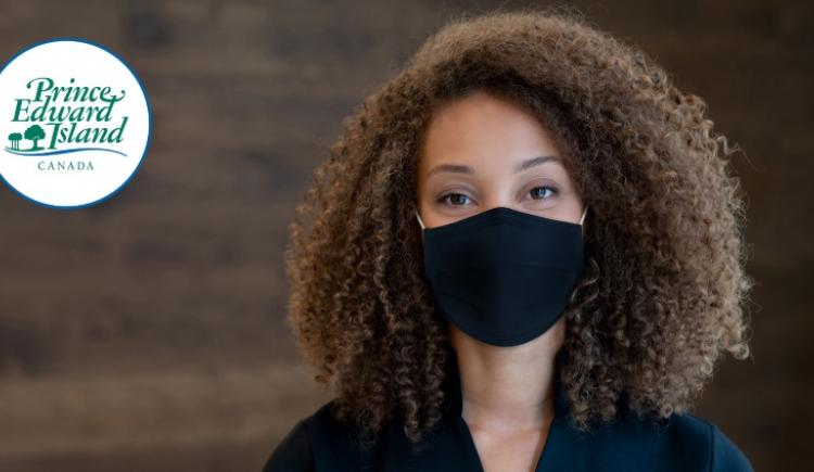 Image of woman wearing a non-medical mask with PEI wordmark in corner