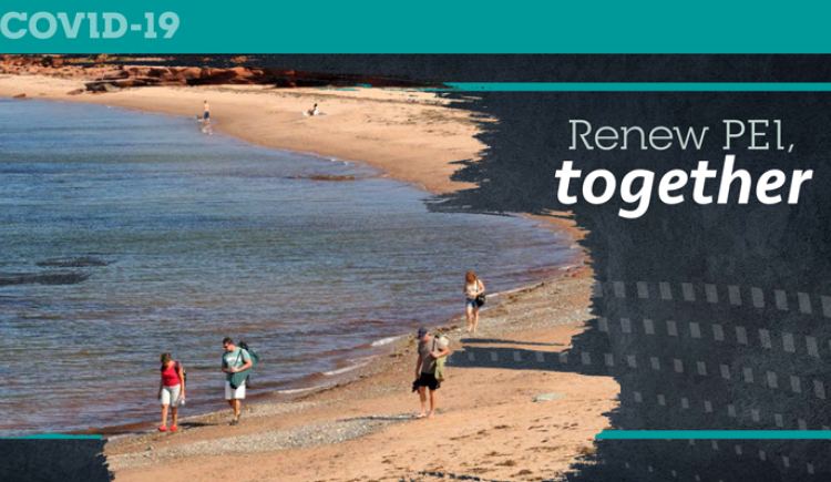 Graphic with image of people walking on a PEI beach