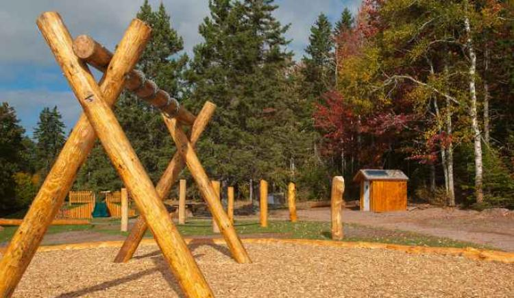 Playground area at entrance to Bonshaw Hills Provincial Park trail system