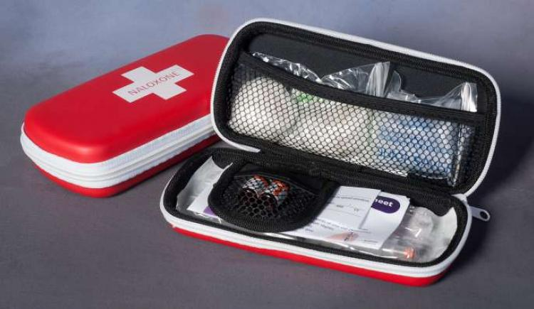 An open naloxne kit showing the contents.