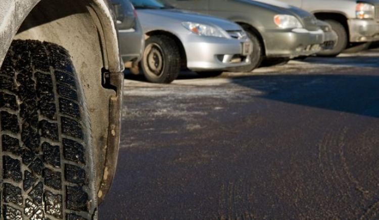 Close up of a studded tire