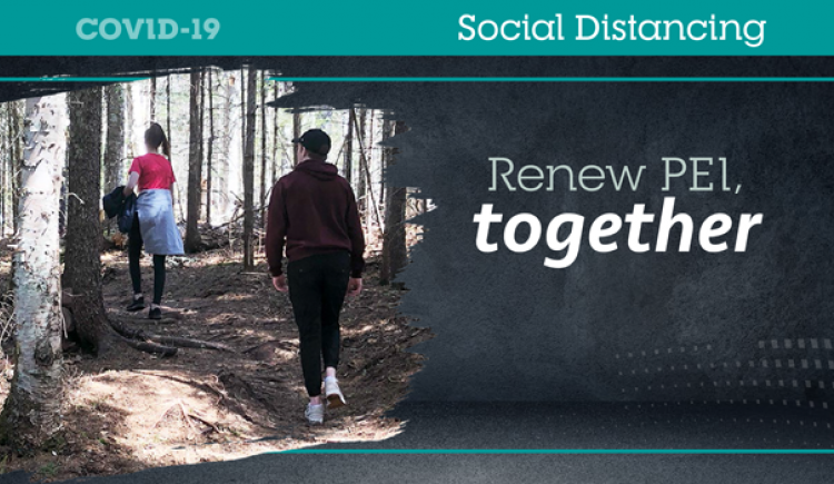 "Grpahic image of a couple running on the Confederation Trail with text"" Social Distancing"""
