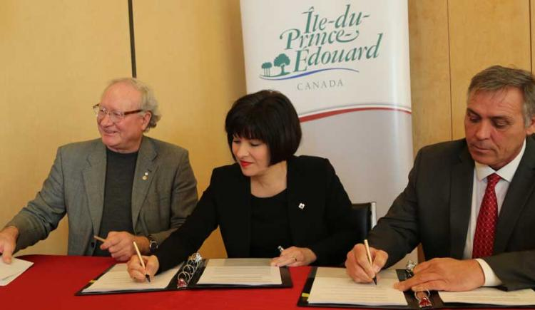Premier Wade MacLauchlan, Federal Minister Ginette Petitpas Taylor, Minister Robert Mitchell
