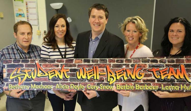 Cory Snow, Lorna Hutt, Minister Jordan Brown, Bethany MacIsaac, and Andrea Garland.