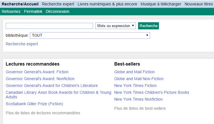 Capture d'écran du catalogue en ligne du Service des bibliothèques publiques de l'Île-du-Prince-Édouard