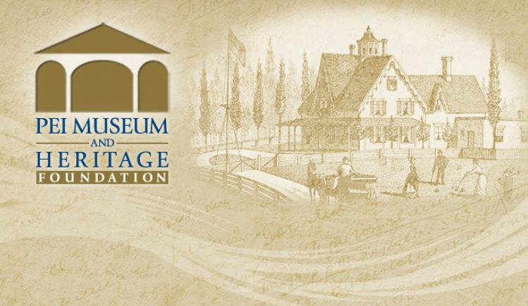 Web graphic with watermark image of Yeo House and PEI Museum and Heritage Foundation logo